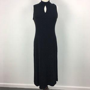NWT Coldwater Creek Black Polka Dot Maxi Dress